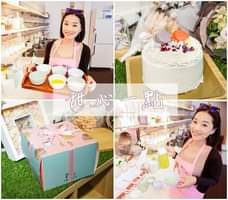 May be an image of 2 people, cake, indoor and text that says '甜心 甜心一點 一點 一'